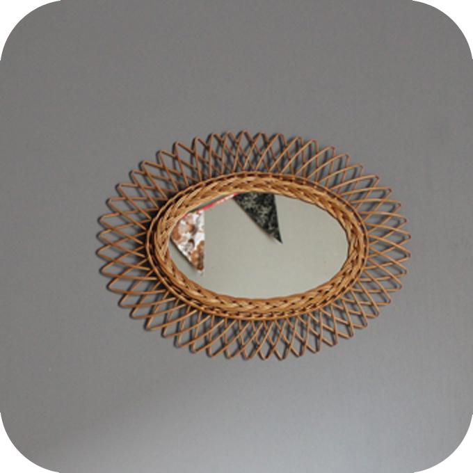 Miroir rotin 50 atelier du petit parc for Rotin miroir