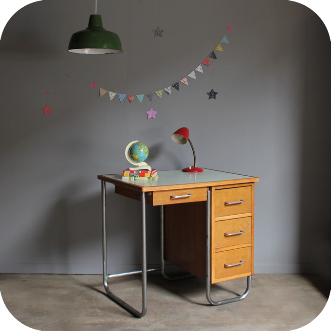 bureau m tallique 50 atelier du petit parc. Black Bedroom Furniture Sets. Home Design Ideas