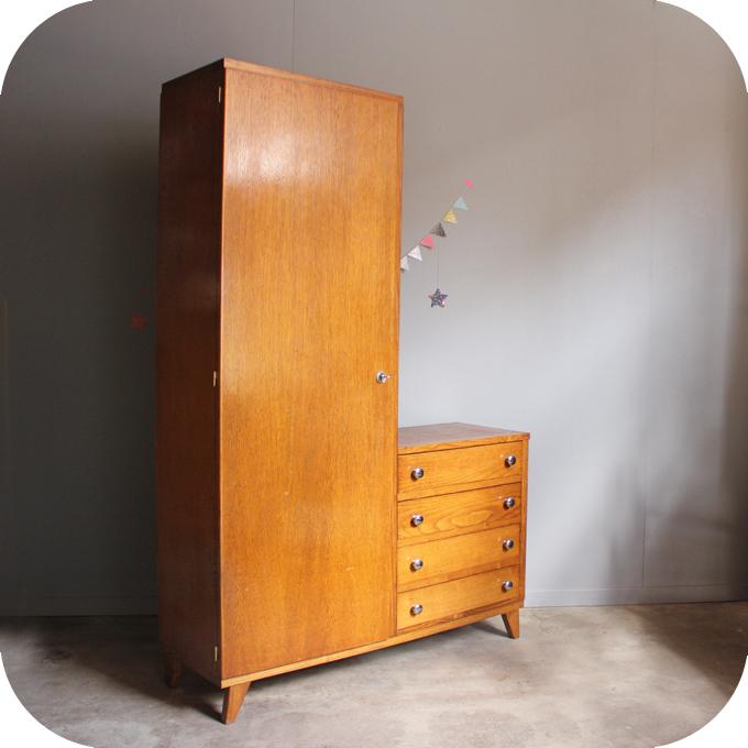Mobilier vintage armoire annees 50 r tro atelier du petit parc - Commode avec penderie ...