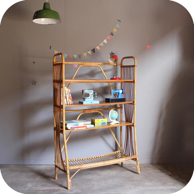 biblioth que rotin vintage c511 atelier du petit parc. Black Bedroom Furniture Sets. Home Design Ideas