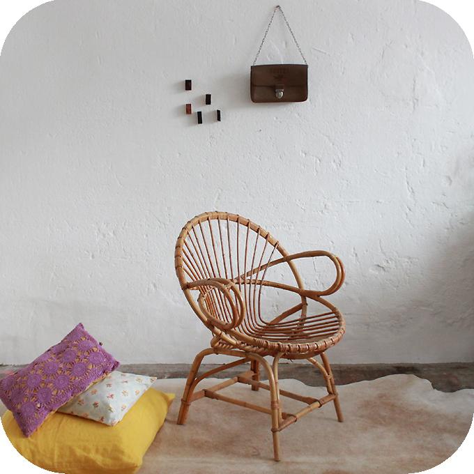 fauteuil rotin vintage ann es 50 atelier du petit parc. Black Bedroom Furniture Sets. Home Design Ideas