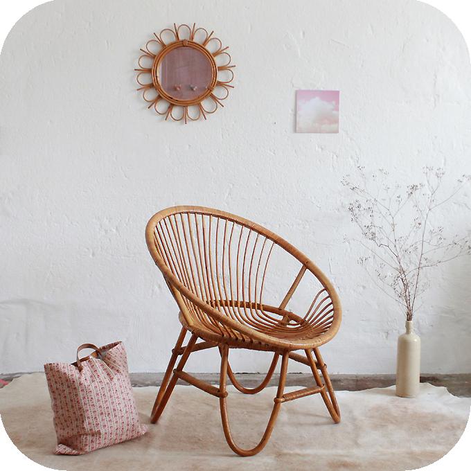fauteuil rotin vintage ann es 50 ann e 60 atelier du petit parc. Black Bedroom Furniture Sets. Home Design Ideas