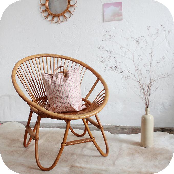 D212 fauteuil rotin vintage boule h atelier du petit parc - Fauteuil boule rotin ...