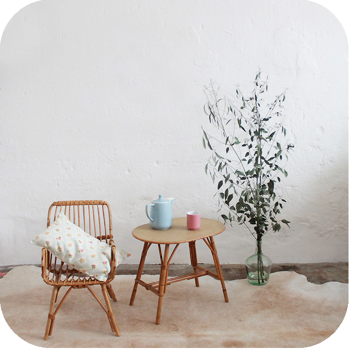 Mobilier Vintage Table Basse Chevet Rotin Ann Es 50 Ann Es 60 Atelier Du Petit Parc