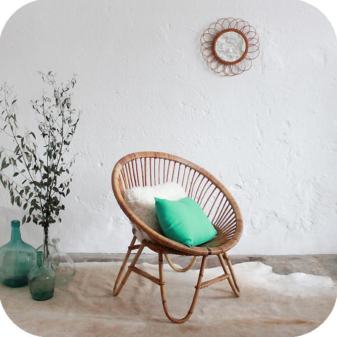 Mobilier vintage fauteuil rotin ann es 50 ann es 60 atelier du petit parc - Fauteuil boule rotin ...