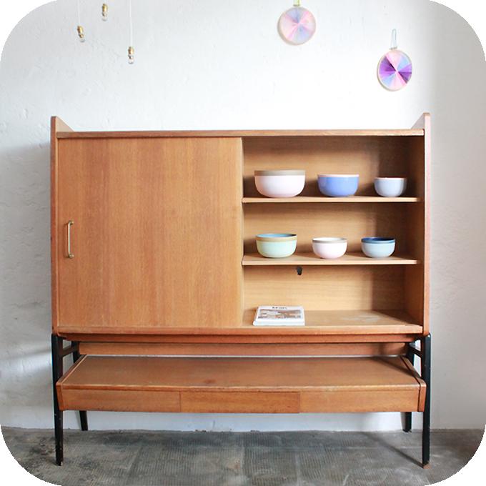 mobilier vintage meuble rangement biblioth que vintage gerard guermonprez atelier du petit parc. Black Bedroom Furniture Sets. Home Design Ideas