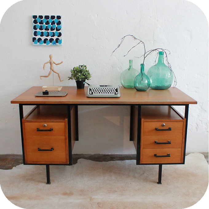 mobilier vintage bureau vintage moderniste ann es 50 ann es 60 atelier du petit parc. Black Bedroom Furniture Sets. Home Design Ideas