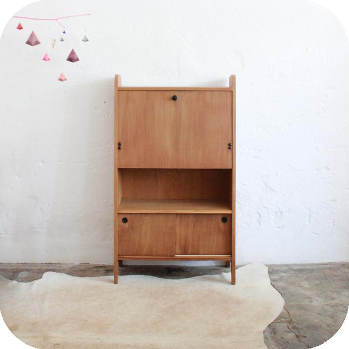 mobilier vintage secr taire bois ch ne vintage ann es 50 ann es 60 jacques hitier atelier du. Black Bedroom Furniture Sets. Home Design Ideas