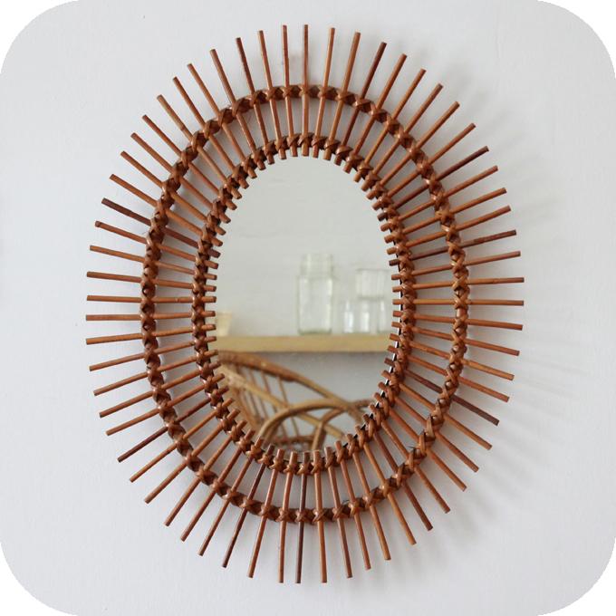 Mobilier vintage miroir rotin osier vintage moelle de for Miroir 50 x 50 cm