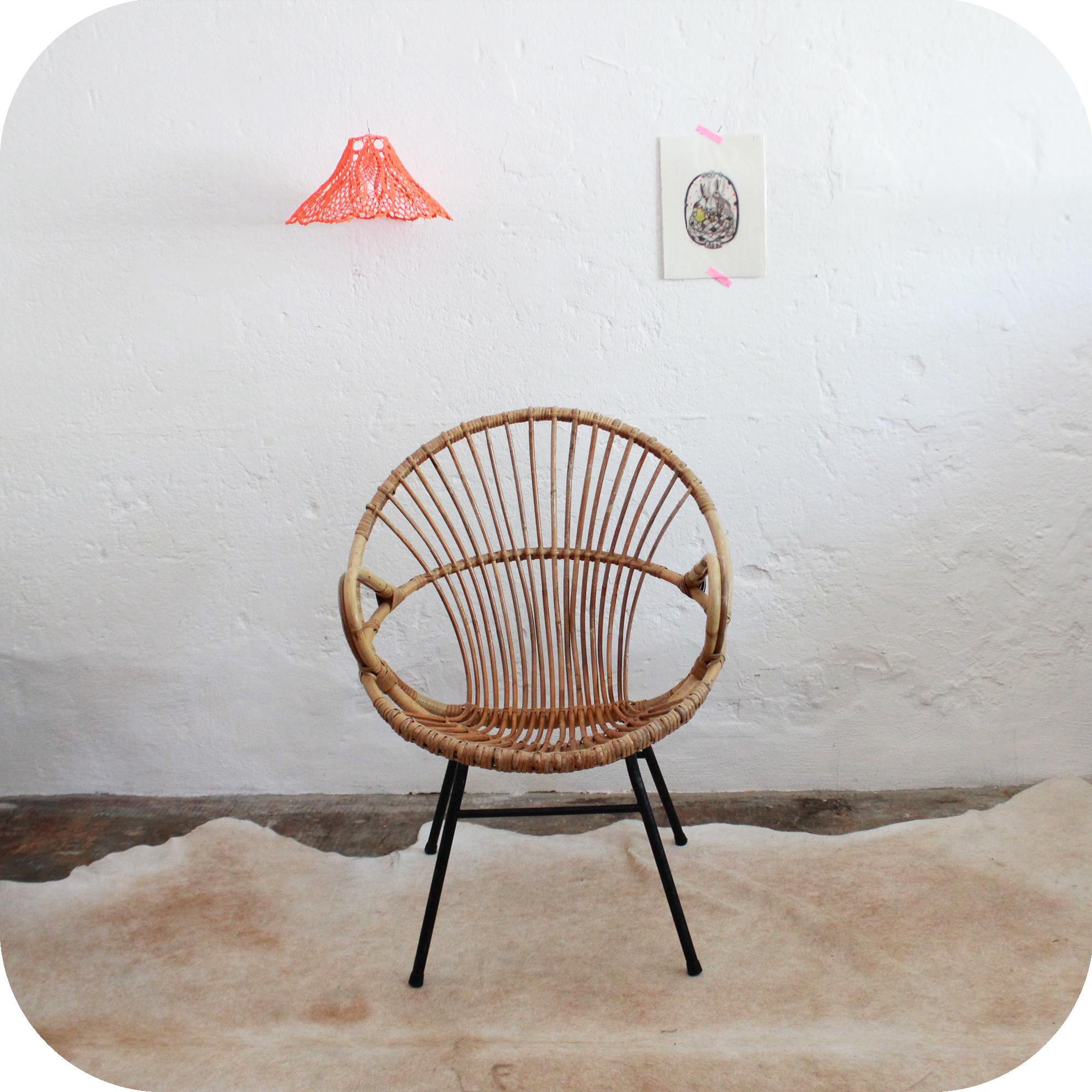 Mobilier vintage fauteuil rotin vintage ann es 50 ann es 60 atelier du pe - Petit fauteuil vintage ...