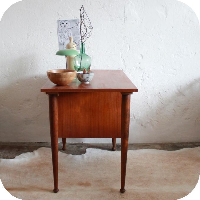 Bureau vintage placage teck style scandinave atelier du petit parc - Bureau style atelier ...