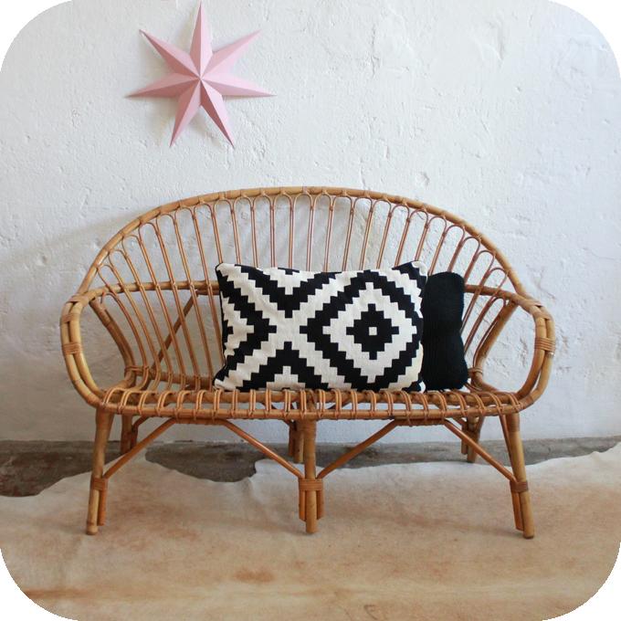 banquette rotin vintage ann es 50 ann es 60 atelier du petit parc. Black Bedroom Furniture Sets. Home Design Ideas