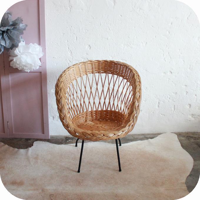 fauteuil rotin osier ann es 50 atelier du petit parc. Black Bedroom Furniture Sets. Home Design Ideas