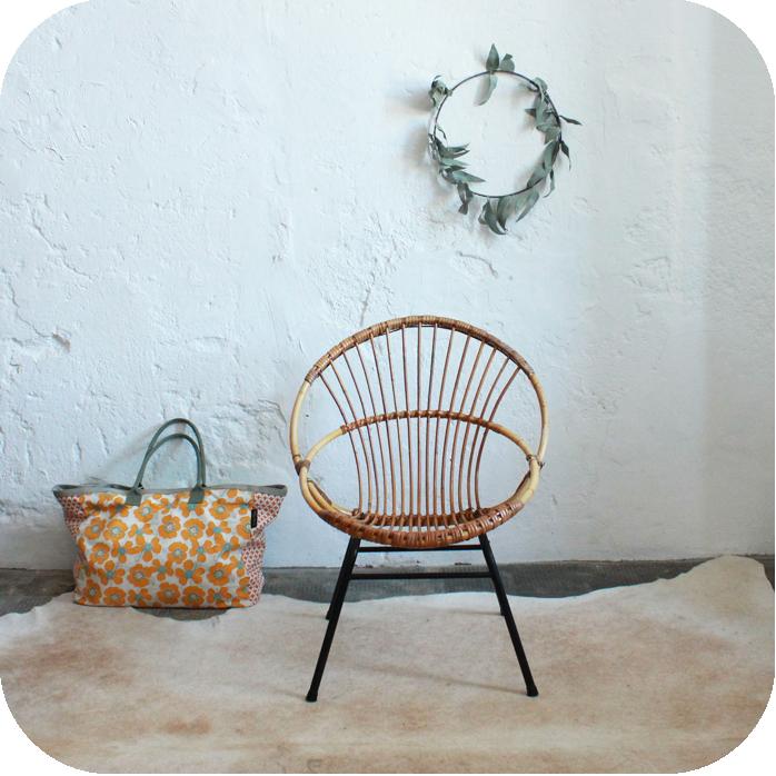 Mobilier vintage fauteuil rotin vintage ann es 50 ann es 60 atelier du petit parc - Petit fauteuil ancien ...