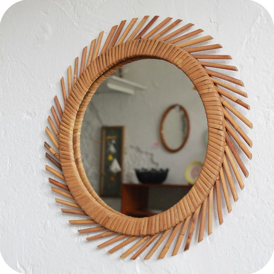 e384 miroir rotin vintage b atelier du petit parc. Black Bedroom Furniture Sets. Home Design Ideas