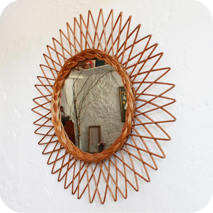 Miroir osier vintage atelier du petit parc for Miroir diametre 50