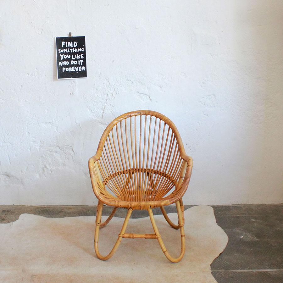 fauteuil rotin vintage forme boule atelier du petit parc. Black Bedroom Furniture Sets. Home Design Ideas