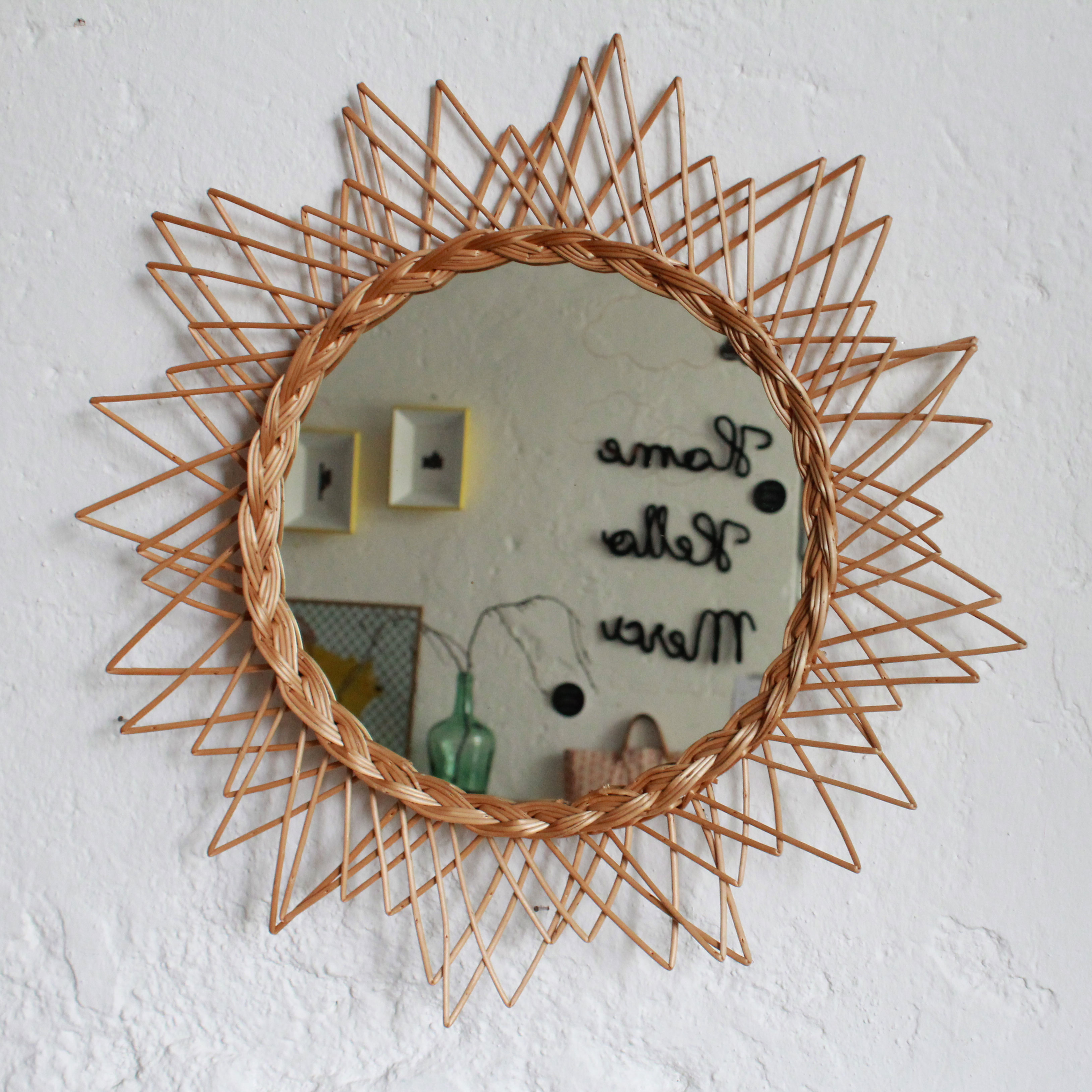 Miroir osier vintage ann es 50 atelier du petit parc for Miroir osier
