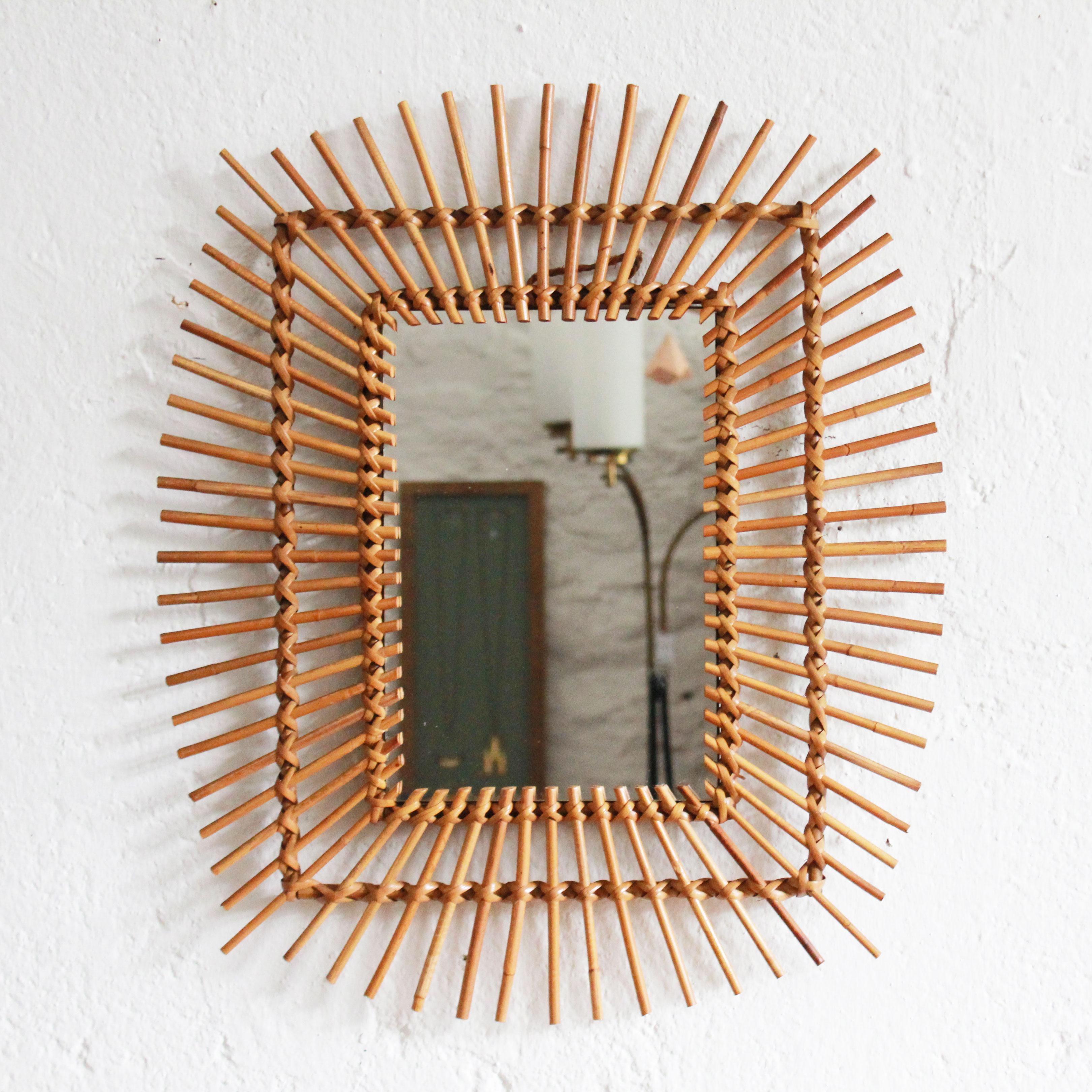 miroir rotin vintage ann es 50 ann es 60 atelier du petit parc. Black Bedroom Furniture Sets. Home Design Ideas
