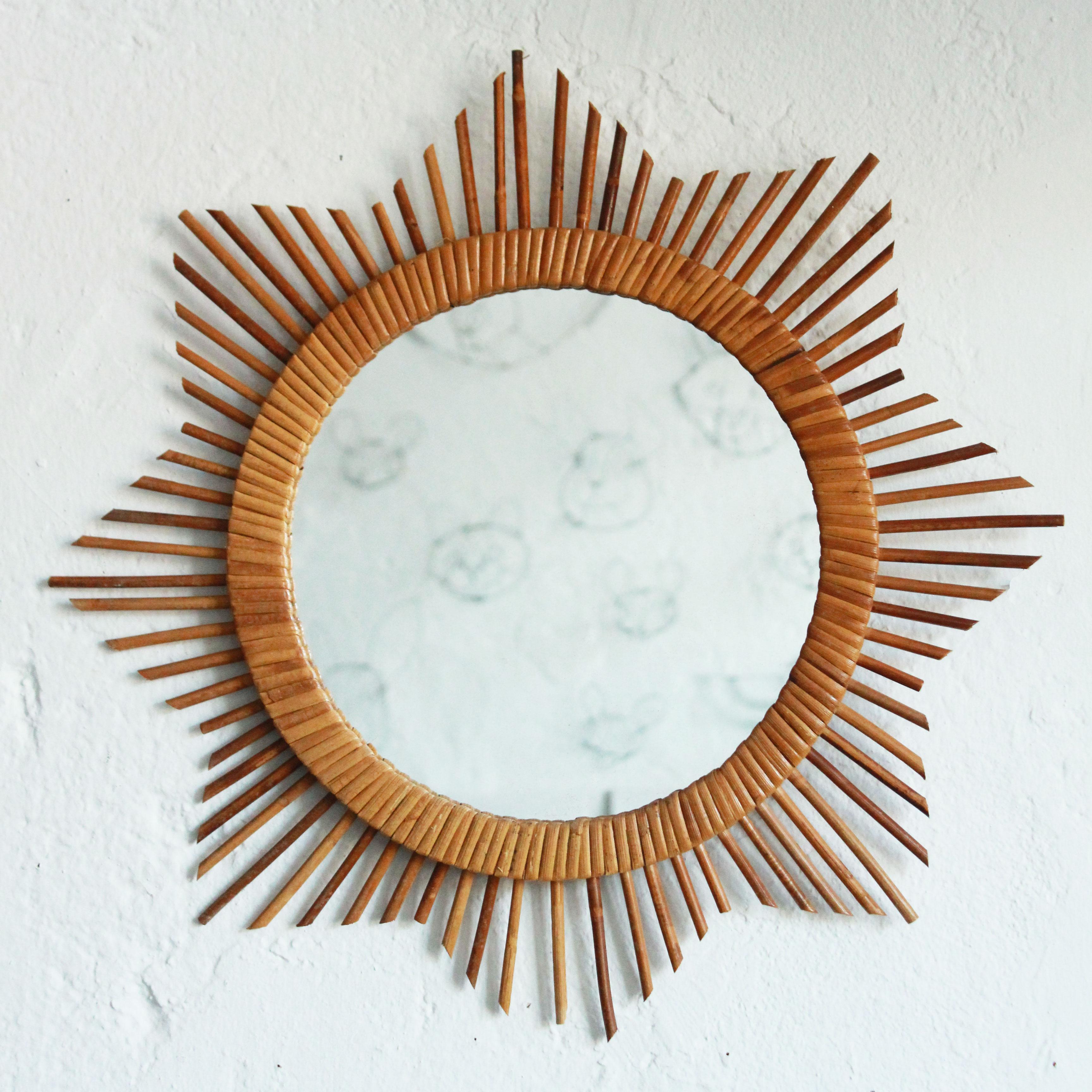 miroir rotin vintage forme etoile ou soleil atelier du petit parc. Black Bedroom Furniture Sets. Home Design Ideas