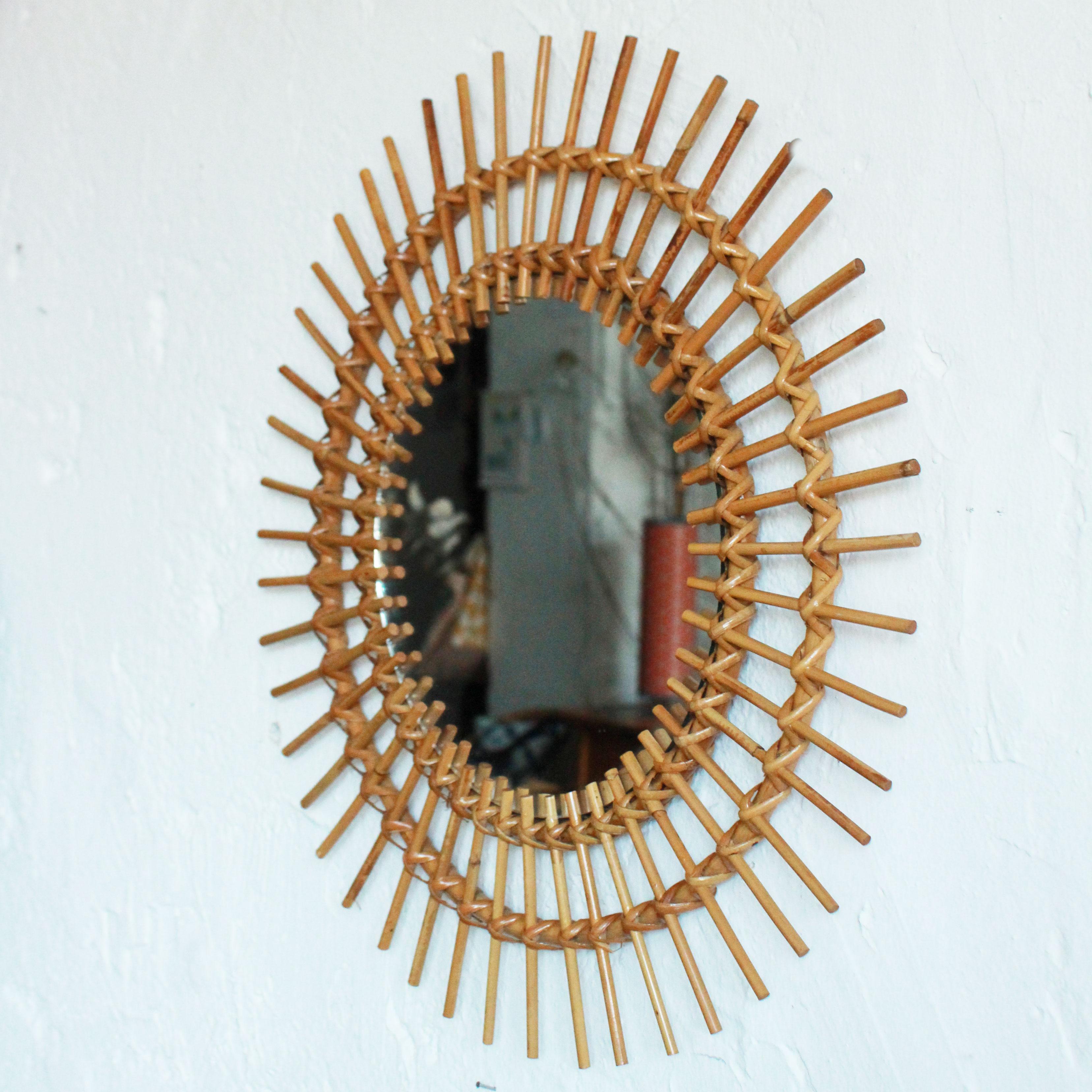 miroir rotin vintage soleil f250 b atelier du petit parc. Black Bedroom Furniture Sets. Home Design Ideas