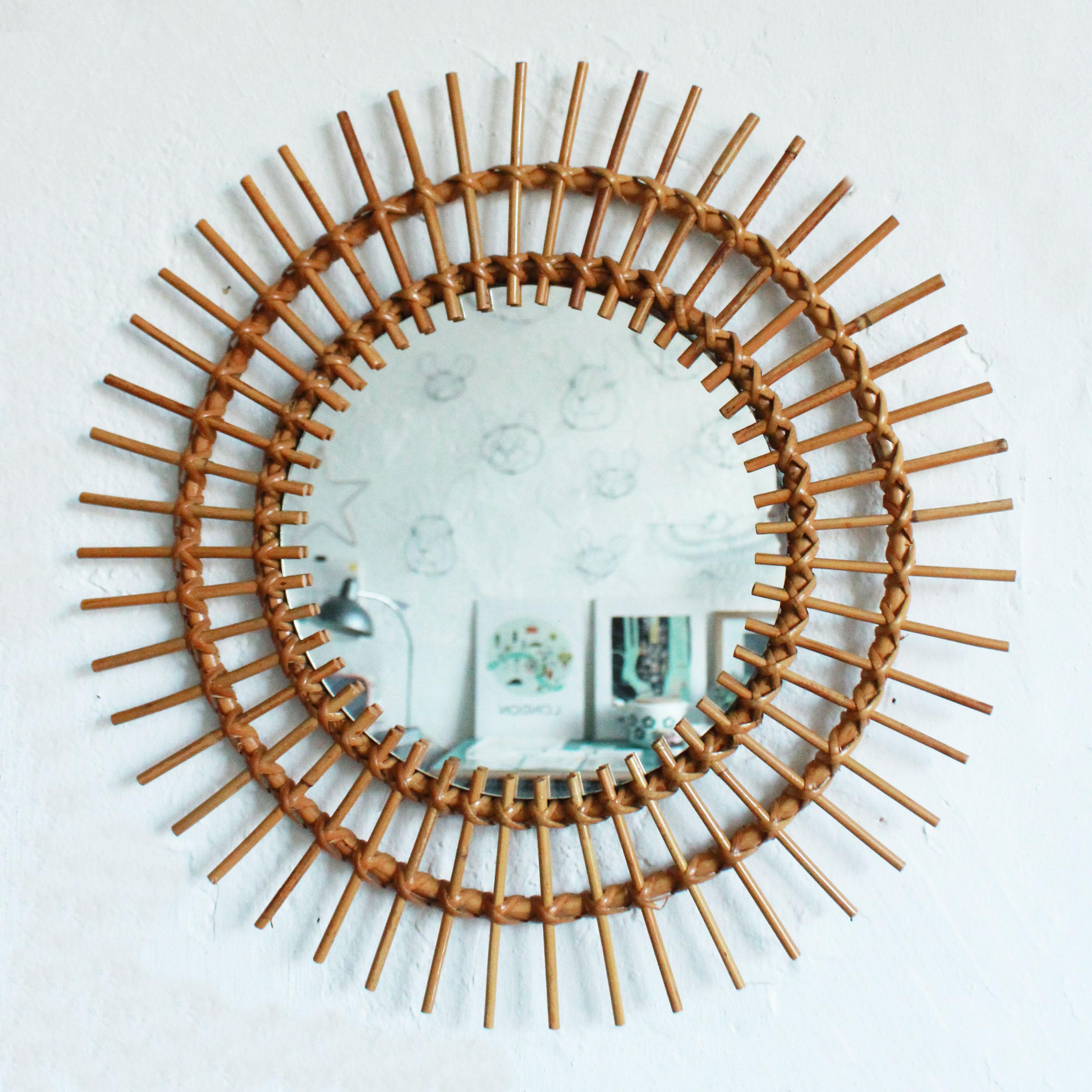 miroir rotin vintage soleil atelier du petit parc. Black Bedroom Furniture Sets. Home Design Ideas