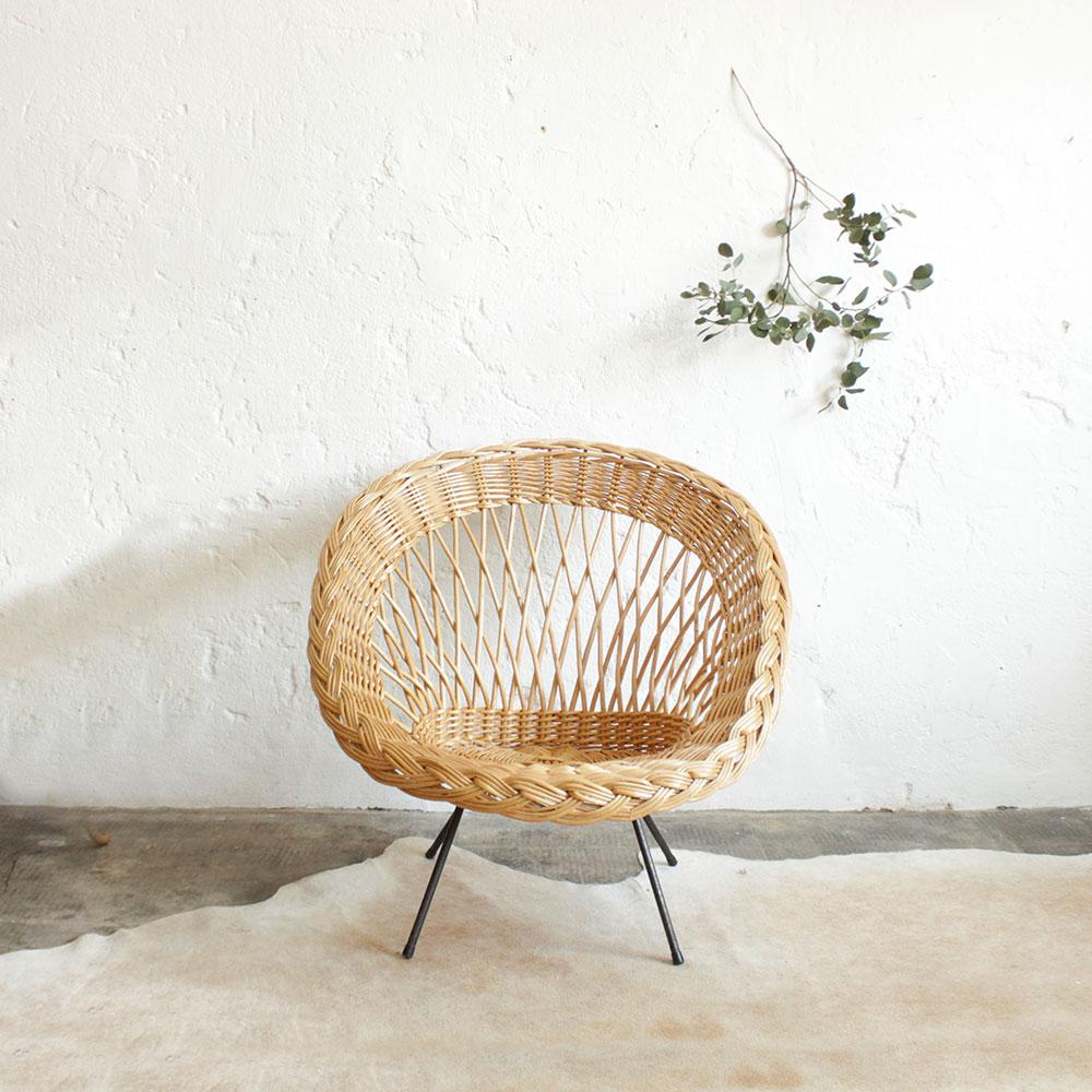 Fauteuil osier vintage atelier du petit parc - Petit fauteuil vintage ...