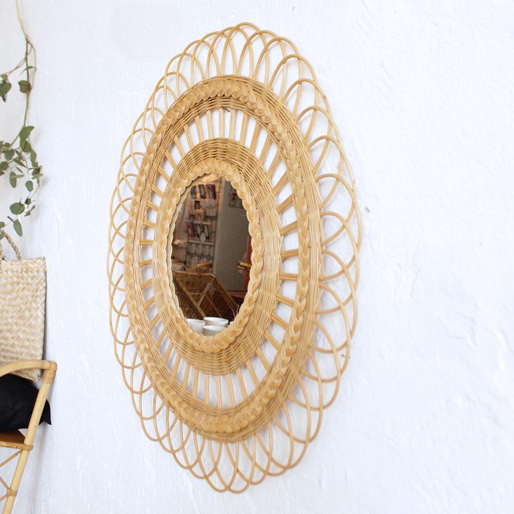miroir rotin vintage dentelle atelier du petit parc. Black Bedroom Furniture Sets. Home Design Ideas