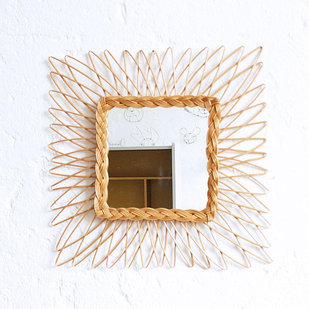Miroir ancien en osier atelier du petit parc for Miroir osier