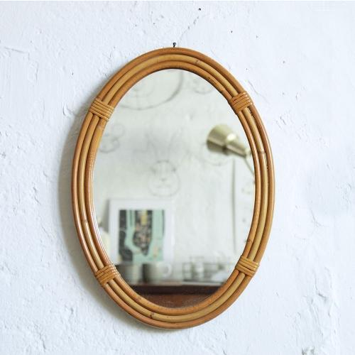 Miroir rotin vintage jonc f420 atelier du petit parc - Miroir en rotin vintage ...