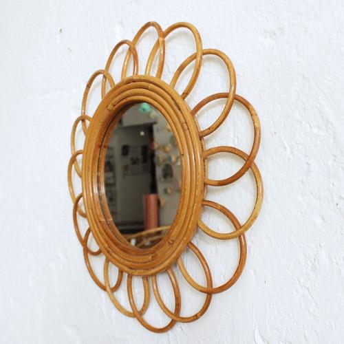 Miroir rotin vintage fleur f421 atelier du petit parc for Theatre du petit miroir