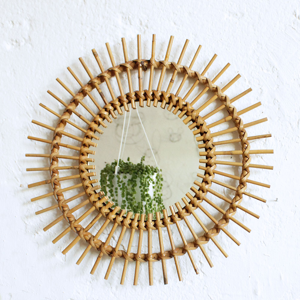 Miroir rotin vintage forme soleil atelier du petit parc for Petit miroir soleil