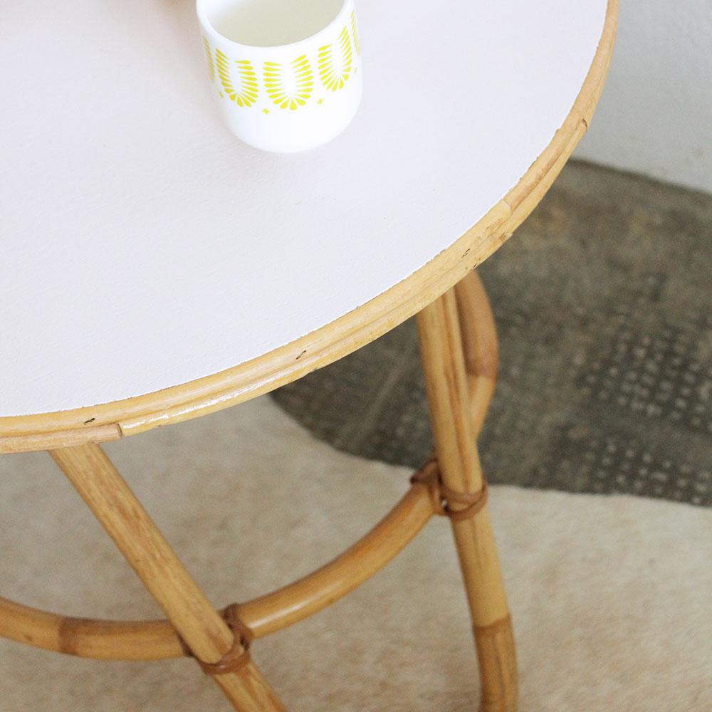 Table Basse Rotin Tripode Vintage Atelier Du Petit Parc