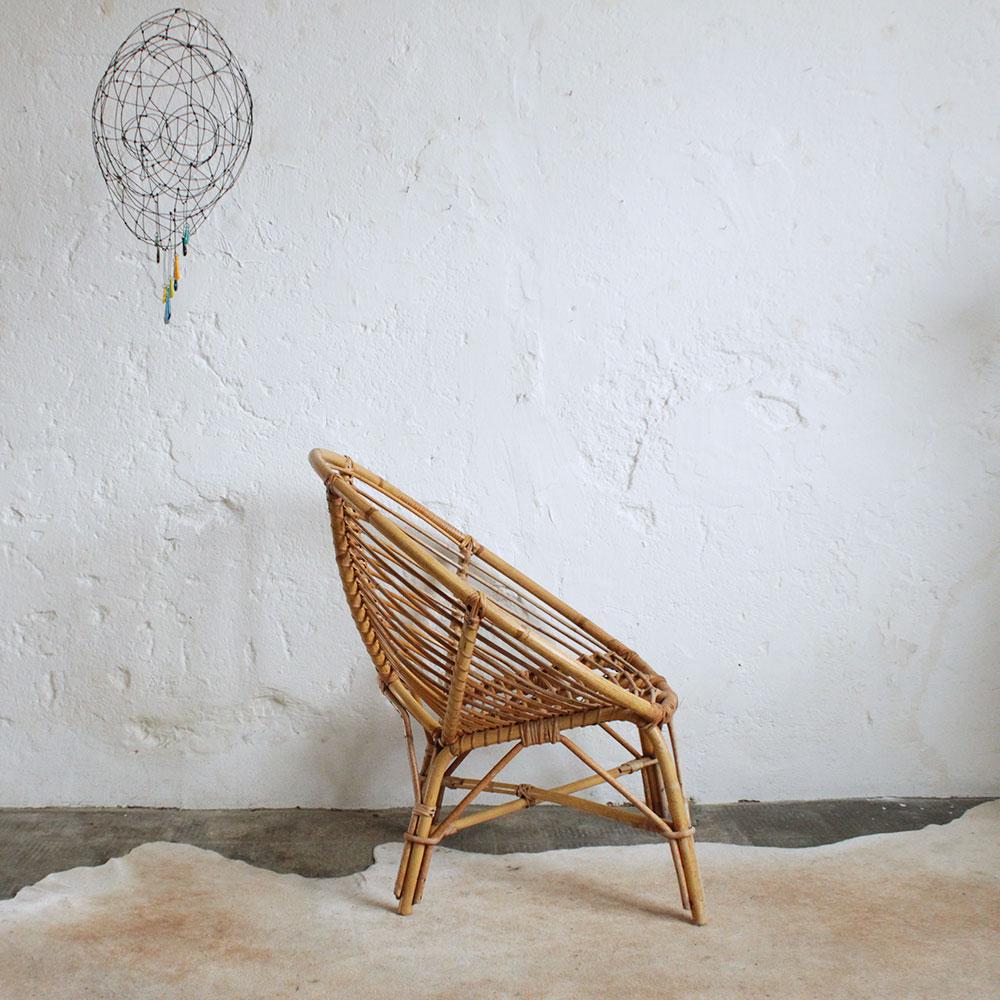 fauteuil rotin vintage forme spirale atelier du petit parc. Black Bedroom Furniture Sets. Home Design Ideas