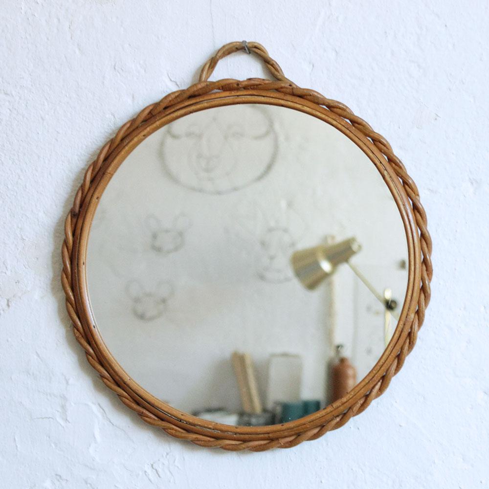 Miroir rotin vintage ann es 50 ann es 60 atelier du for Rotin miroir