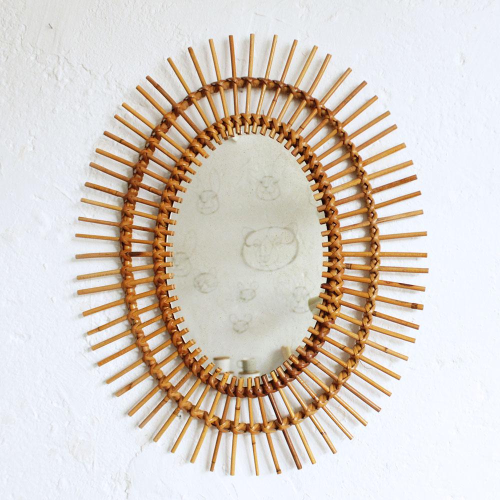 Miroir rotin vintage forme fleur atelier du petit parc for Miroir soleil rotin