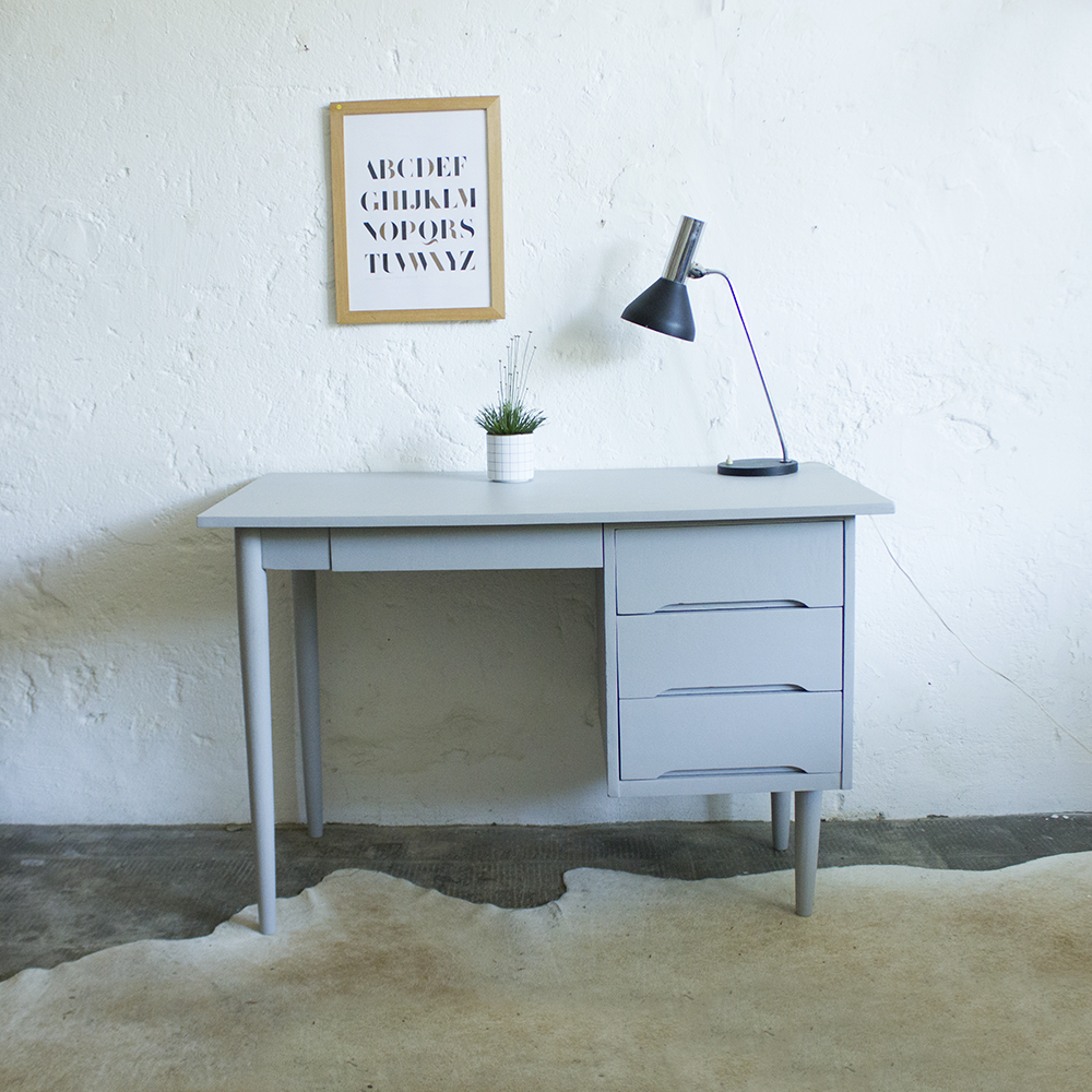 Bureau vintage style scandinave atelier du petit parc - Bureau bois gris ...