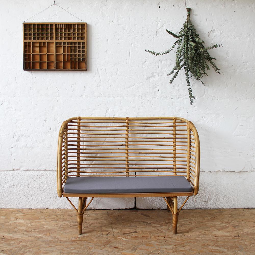 mobilier vintage banc rotin enfant vintage ann es 50 ann es 60 atelier du petit parc. Black Bedroom Furniture Sets. Home Design Ideas