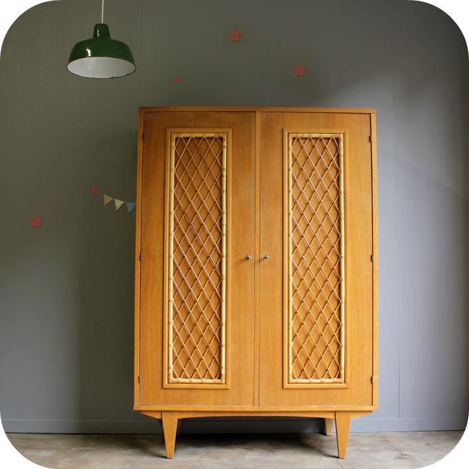 armoire rotin vintage b485 - Meuble Vintage Nantes