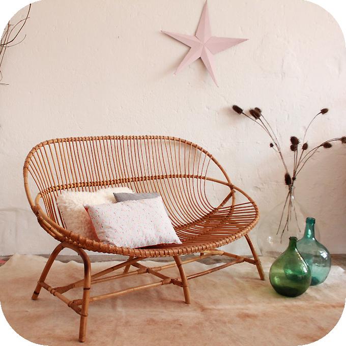 banquette rotin vintage coquille ann es 50 atelier du petit parc. Black Bedroom Furniture Sets. Home Design Ideas