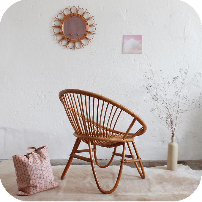 d212 fauteuil rotin vintage boule d atelier du petit parc. Black Bedroom Furniture Sets. Home Design Ideas