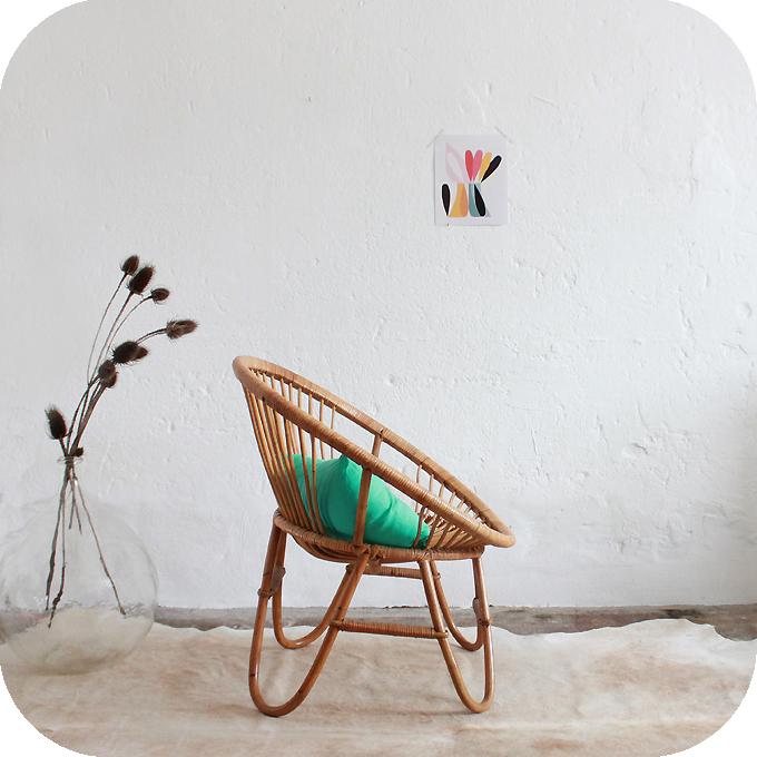 d213 fauteuil rotin vintage boule c atelier du petit parc. Black Bedroom Furniture Sets. Home Design Ideas