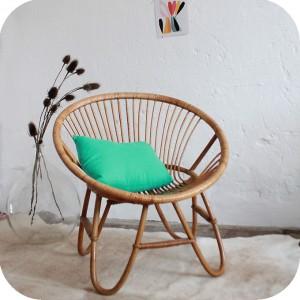 d213 fauteuil rotin vintage boule f atelier du petit parc. Black Bedroom Furniture Sets. Home Design Ideas