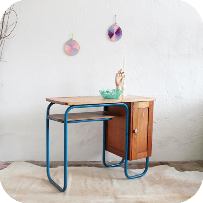D215 mobilier vintage bureau vintage ecole b atelier du for Mobilier retro