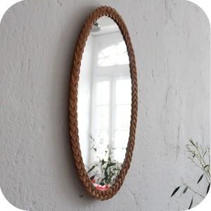d258 mobilier vintage miroir osier vintage d atelier du petit parc. Black Bedroom Furniture Sets. Home Design Ideas