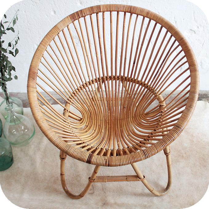 D278 mobilier vintage fauteuil rotin d atelier du petit parc - Fauteuil boule rotin ...
