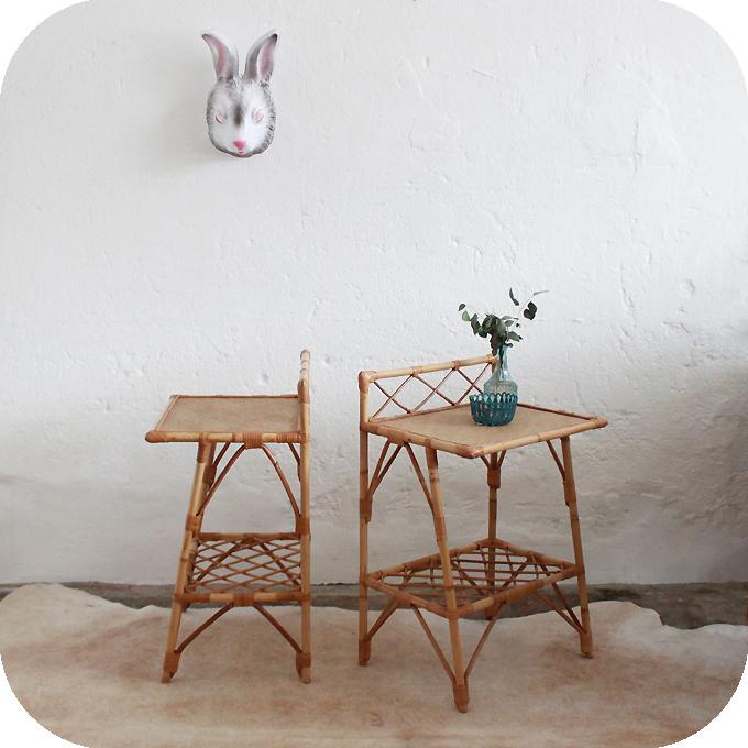 mobilier vintage chevet rotin ann es 50 ann es 60 atelier du petit parc. Black Bedroom Furniture Sets. Home Design Ideas
