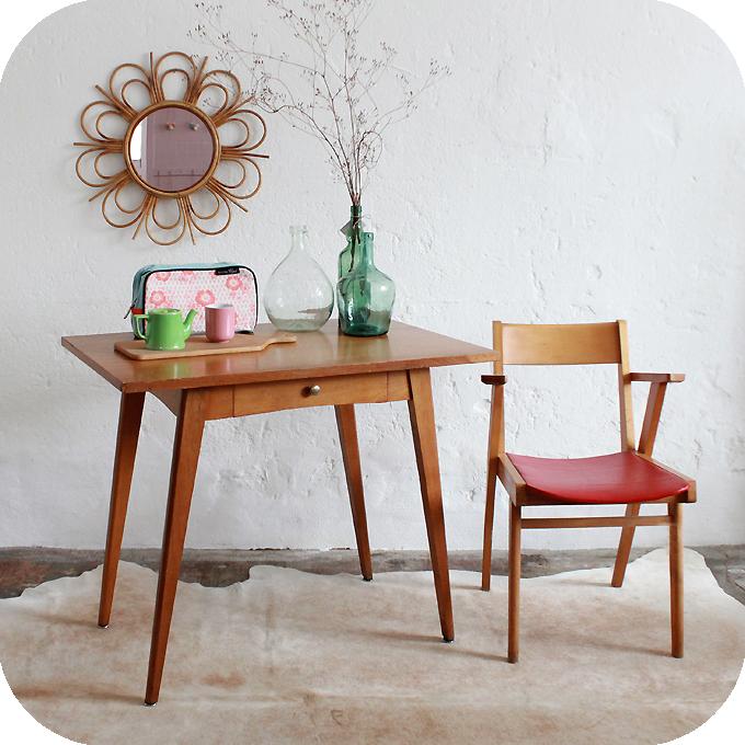 B320 mobilier vintage table bureau vintage b atelier du petit parc - Petit bureau vintage ...