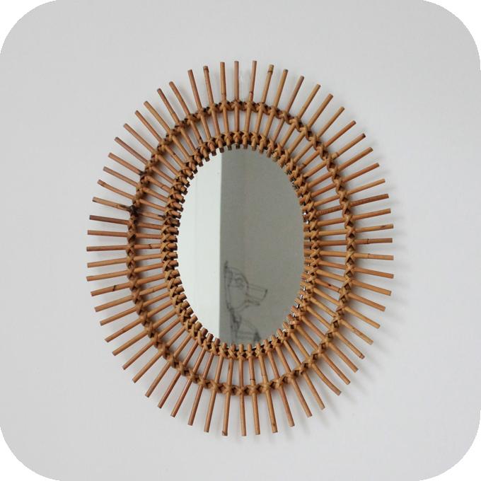 Mobilier vintage miroir rotin vintage atelier du petit for Miroir largeur 50