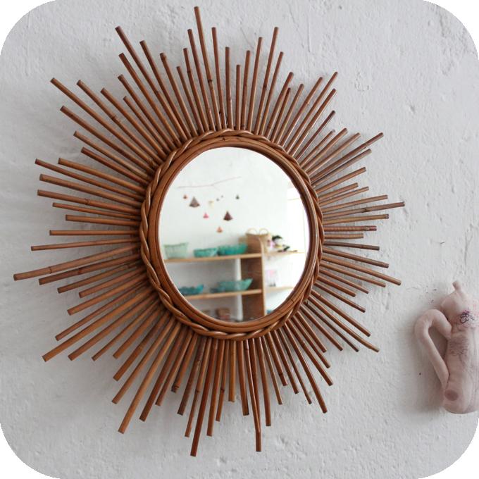 d404 miroir rotin etoile vintage e atelier du petit parc. Black Bedroom Furniture Sets. Home Design Ideas